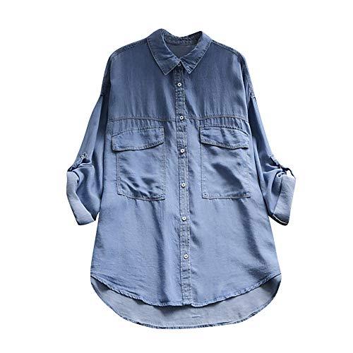 Rosennie_Bluse damen jeans hemd frauen mode casual hemd blau jean denim langarm shirt tops bluse jacke damen jeansbluse hemdbluse langarmbluse jeansjacke frã¼hling sommer herbst oberteile (blau g,2xl)