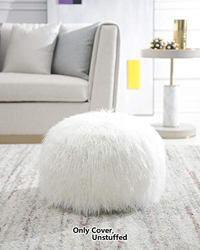 Comfortland 20 Inches Faux Fur Ottoman with Storage, Folding Toy Box Chest Footrest, Round Foot Stool Seat, Small Floor Pouf for Living Room, Bedroom, Kids Room (Off White)