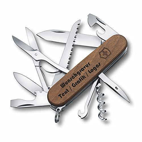 Victorinox- Original Huntsman Wood auf Wunsch mit persönlicher Gravur auf der Klinge oder auf dem Griff graviert mit Logo Motive Schriftzug oder Grafik feine Lasergravur 1.3711.63 (Gravur am Griff)