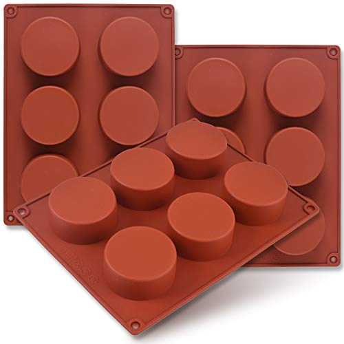 Newk Stampo in silicone cilindrico, 3 confezioni Stampo cilindrico rotondo a 6 cavità per cupcake, sapone fatto a mano, muffin