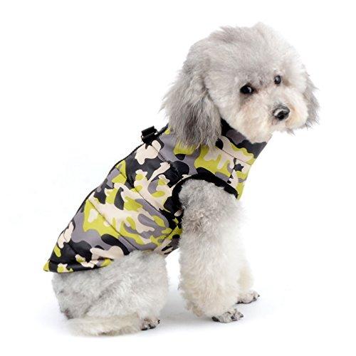 SELMAI Jacke/Mantel für Kleine Hunde Wasserdicht Hundmantel mit D-Ring Geschirr Fleecejacke Camouflage für Hunde Katze Kostüm Warme Haustierkleidung für den Winter Gelbee Camouflage S