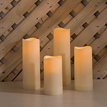 Outdoor Flameless Candles with Timer - Battery Operated 2 Inch Diameter Waterproof Ivory Resin Flickering Warm White LED Remote Control - 4 Pack