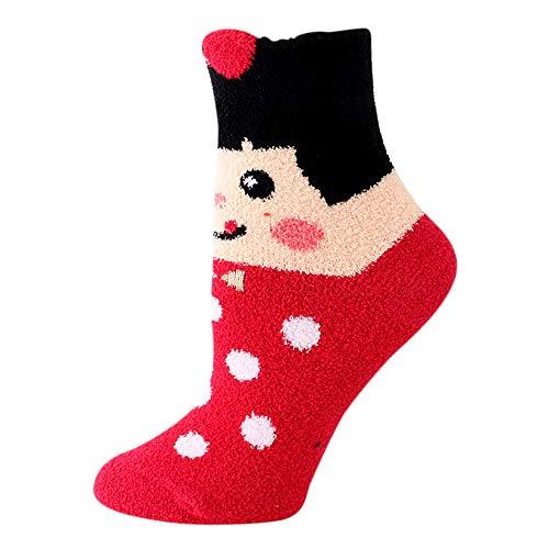 ZZBO Damen Coral Velvet Socken Wärmende Fluffy Bettsocken Verdickenden Terry Socken Cosy Cartoon Ankle Socks Niedlicher Kurze Socken Hochwertige Mid Tube Socken Winter Thermo Socken