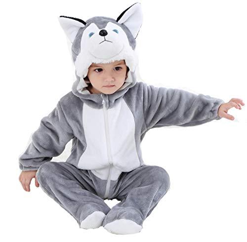 Doladola Baby-Mädchen-Flanell-Spielanzug mit Kapuze Animal Dog Outfits (Grauer Hund, Größe 80 (Alter 6-12 Monate))