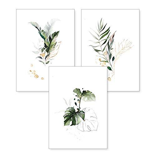 3-teiliges Premium Poster-Set | Kunstdruck | Botanik grün | Blätter | Deko Bild für Ihre Wand | optional mit Rahmen | Wohnzimmer Schlafzimmer Modern Fine Art | DIN A4 / A3 (A4, ohne Rahmen)