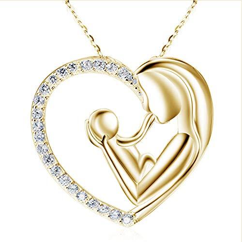 LEFUYAN Colar para mãe e crianças com mãe abraçando criança design zircônio oco coração joia presente para mulheres mãe