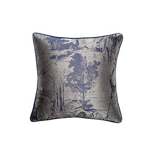 QMZ Fundas de Cojines Funda de Almohada Cuadrada de la Serie de Textura Azul de Alta precisión de Estilo de Lujo Ligero (sin núcleo) sofá Funda de Almohada Redonda Decorativa