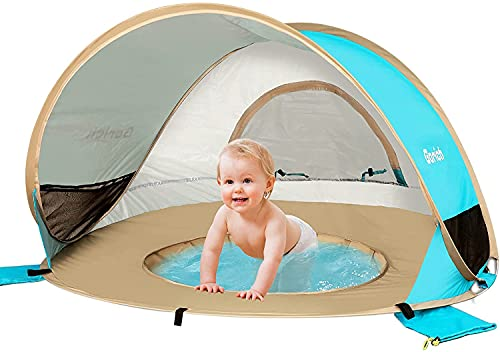 Gorich Baby Beach Tent with Pool, Pop Up Beach Tent UPF 50+ Large Baby Beach Tent with UV Protection, Portable Baby Beach Shade Tent Sun Shelter Kiddie Pool with Canopy for Infant Toddler