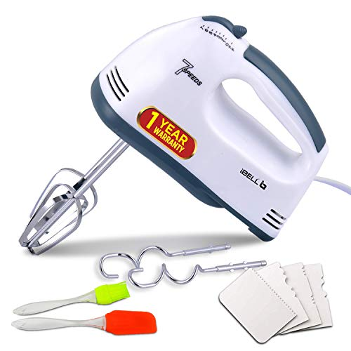 iBELL WHITES03SET 120w Hand Mixer, Blender, Beater and Cream Maker with 7 Speed Controls, 2 Dough Hooks, 2 Beaters, Scraper, Spatula & Brush | White