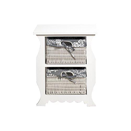 Rebecca Mobili Comodino bianco grigio, cassettiera 2 cassetti shabby, vimini legno, camera da letto bagno - Misure 50 x 42 x 30 cm (HxLxP) - Art. RE4439
