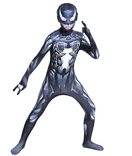 JianYia Kids Bodysuit Superhero Costumes Halloween Cosplay Costumes (B Black, Kids-M)