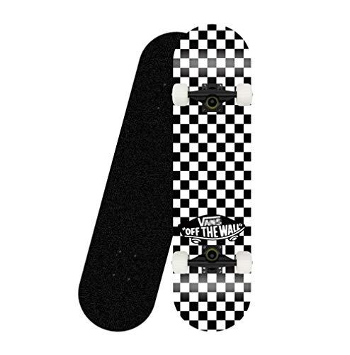HUADUO Komplettes professionelles Standard-Skateboard, 31-Zoll-Skateboard aus schwarz-weiß kariertem Ahorndeck mit Doppelkick für Erwachsene, Kinder und Anfänger-Schwarzes weißes Rad der Halterung