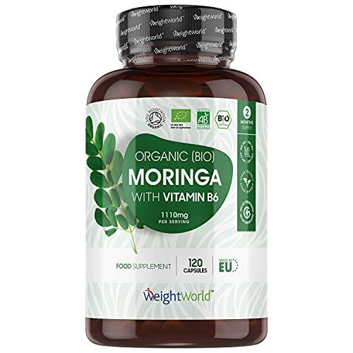 Moringa Bio Gélules Extra Fort 1112mg - Organic Moringa Oleifera Bio + Vitamine B6-120 Gélules Vegan - Certifié AB - Source de Protéines, Antioxydants, Vitamines, Minéraux - Biodisponible