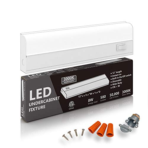 """Hardwired LED Under Cabinet Lighting - 8 Watt, 12"""", Dimmable, CRI>90, 3000K (Soft White), Wide Body, Long Lasting Metal Base with Frost Lens"""