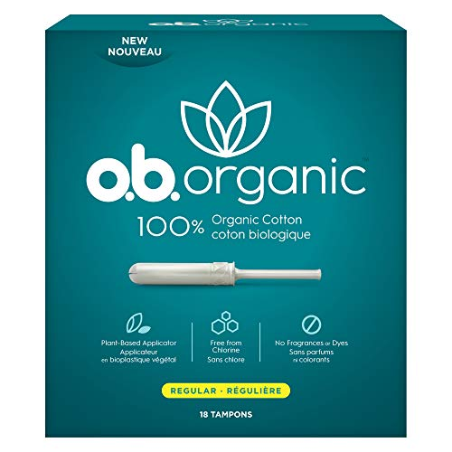 ob Organic Tampons with New PlantBased Applicator* 100% Organic Cotton Regular 18 Count