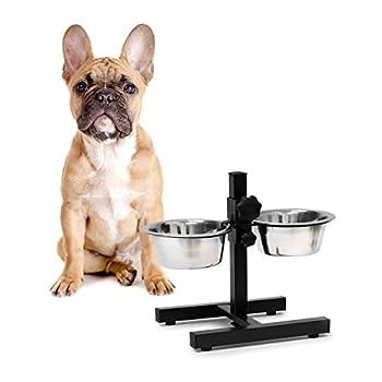 Relaxdays Set bols pour chien/chat, réglable en hauteur, acier inoxydable, argent, 5pièces Petit 5 pièces argent