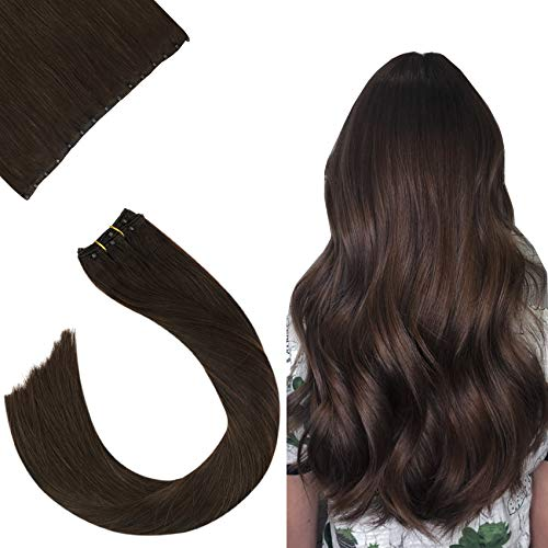 "Ugeat 24 Pouce EZE Weft de Cheveux Humains Tissage Marron Fonce #4 Micro Ring Loop Cheveux Naturel Lisse 10"" Width Easy Loop Cheveux Extension 50Gramm"