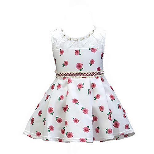 Mama stadt Kleider für Baby Mädchen Geburtstag Hochzeit Spitzenkleid Prinzessin Festzug Taufkleid Rosendruck Partykleid/70