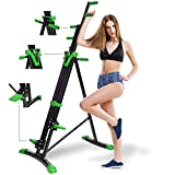 Mauccau Folding Exercise Step Machine & Indoor Vertical Climber - Home Gym, Total Body Workout Vertical Climber Machine,Training Hip Grips Legs Arms Abs Calf (Green)
