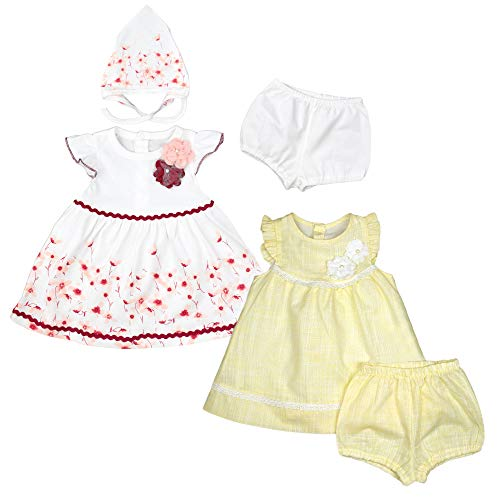 bebetto - Vestido de Verano para niña, Vestido de Bautizo para bebé, con Pantalones Cortos, Gorro de Cintura, Ropa de Fiesta para bebé 3-tlg Weiß-Rot (K 0040) 80 cm