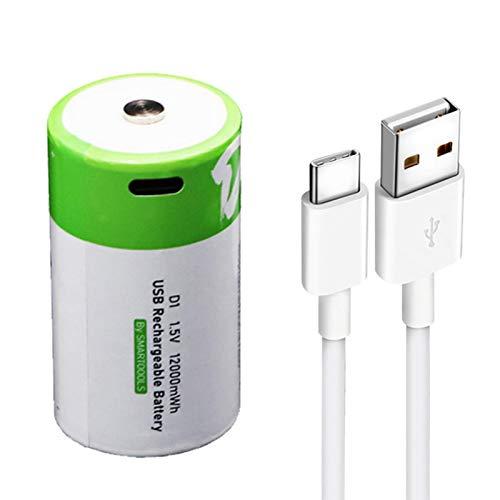 Batería de litio D Cell, recargable con USB, 1,5 V/12000 mAh, ecológicas y reciclables.