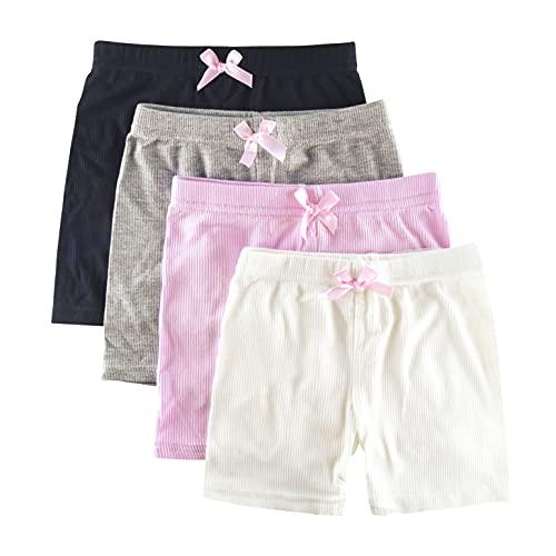 KeeFsion 4 Packs Girls Shorts Color Dance Shorts Girls Safety Short Atmungsaktive Bike Short für Mädchen Bedruckte Dance Shorts Colourful Yoga Short Pant 3-10 Jahre