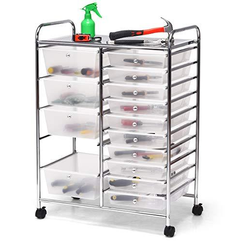 DREAMADE Rollwagen mit 15 Schubladen, Küchenwagen Beistellwagen mit 4 Rollen, Aufbewahrungswagen mit großem Stauraum (Weiß)