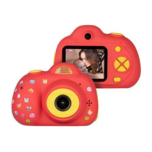 Funkprofi Cámara para niños de 3 años HD 1080P Mini cámara para niños pantalla a color 2.0 pulgadas cámara digital 8 megapíxeles cámara dual con adhesivo regalo para niños y niñas – rojo