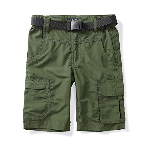 OCHENTA Kids Boy's Youth Quick Dry Elastic Waist Cargo Shorts, Outdoor Hiking Camping Fishing Army Green Tag 110-3T/4T