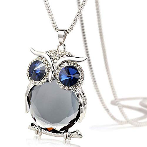 Valentine's Day Gift, Women Necklace, Owl Pendant Diamond Sweater Chain Long Necklace Jewelry (Gray)