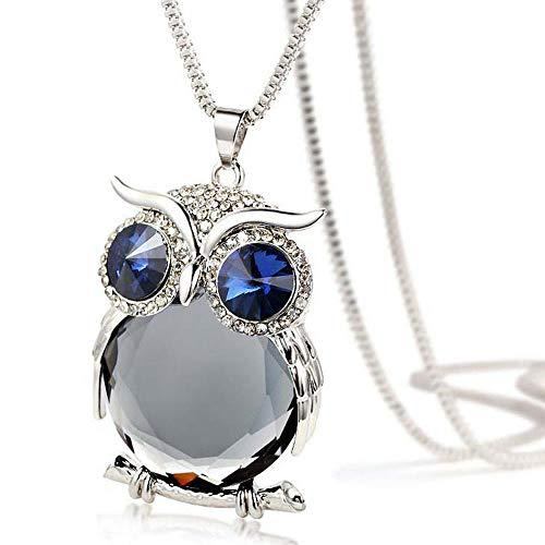 Valentine's Day Gift, Women Necklace, Owl Pendant Diamond Sweater Chain...