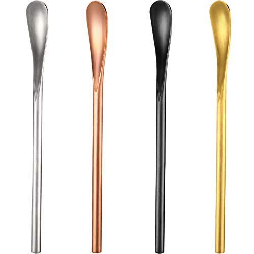 5.12 Inch Coffee Spoons Cocktail Tea Stir Sticks 304 Stainless Steel Spoons Espresso Beverage Drink Stirrer Spoons with Short Handle for Bar Home Office (4, Silver, Black, Gold, Rose Gold)