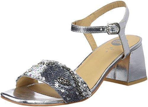 Gioseppo 45283, Zapatos de tacón con Punta Abierta para Mujer, Plateado (Plata), 37 EU