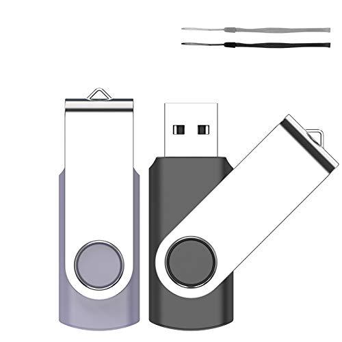 1GB USB Stick, SRVR 2 Stück Speicherstick USB-Flash-Laufwerk Mehrfarbig Memory Stick Datenspeicher USB 2.0 mit Kappe LED Anzeige Schlüsselband