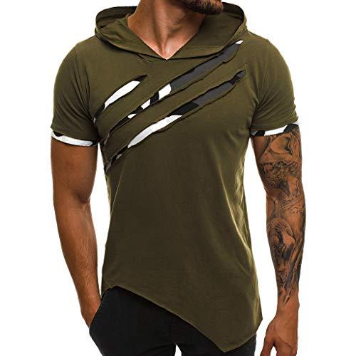 JiaMeng Camisetas Elástica de Fitness sin Mangas Tank Top Gym para Hombre Fitness Muscle Estampado sin Mangas con Capucha Culturismo Bolsillos de Secado Ajustado (Verde 3, 3XL)