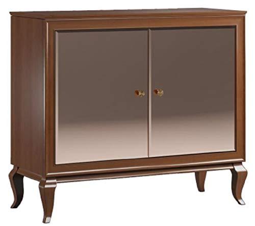 Casa Padrino aparador Art Deco de Lujo marrón Oscuro 108,7 x 43,5 x A. 95,5 cm - Armario de Madera Maciza con 2 Puertas espejadas - Muebles de Sala Art Deco