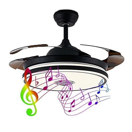 Ylight Actualice El Candelabro del Ventilador Techo del Altavoz Bluetooth, Luces Ventilador Techo Retráctiles Reversibles 42 Pulgadas Y Regulable A Distancia, para Comedor/Sala Estar, Dormitorio