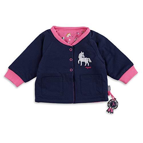 Sigikid Baby-Mädchen Wendejacke aus Bio-Baumwolle für Kinder Chaqueta acolchada reversible para bebé, Caballos de color azul y rosa, 12 meses para Bebés