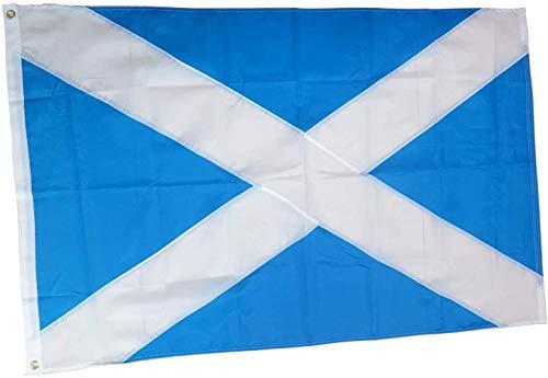 rhungift Robuste Outdoor Schottland Flagge 150 x 90 cm Premium Qualität Durable 210D Nylon Messing Ösen UV geschützt Wasserdicht Innen Doppelnaht Schloss Schottische Flagge