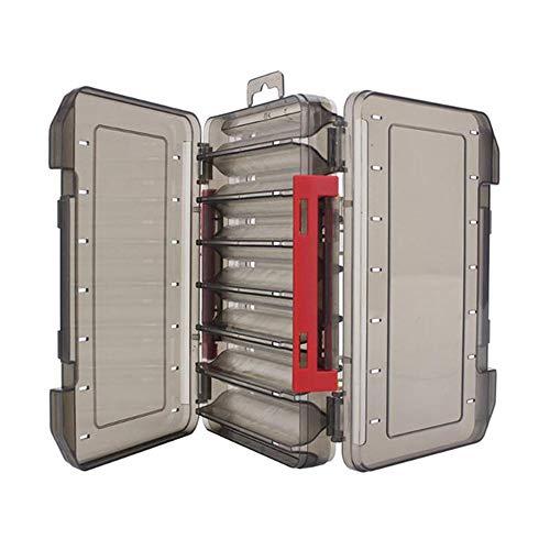 WLKK Caja de Aparejos de Pesca Duradera de Doble Cara, hábil Caja de Almacenamiento de señuelos, 12/14 Compartimentos(20x13x3.5cm,Red)