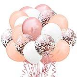 TOPWINRR 60 Stück Helium Party Ballon Hochzeit Deko Luftballons Geburtstag Kinder Latex Konfetti Ballons Dekoration, Rosegold Hellrosegold Weiß