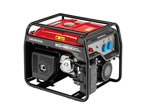 Stromerzeuger Honda EG 4500, 4-Takt Motor, Nennspannung 230 V, Nennleistung: 5.4/7.3 kW/PS, Steckdosen: 2x 230 V Schuko, Betriebszeit bei 75 Prozent Last: 11,5 h, LBH 68x53x57 cm, Gewicht 79,5 kg.