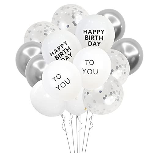 Globos De Cumpleaños,Paquete De 14 Globos De Plata,Globos Plateados De Confeti,Globos Blancos De Feliz Cumpleaños