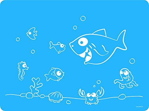 Dinomio Platzset aus Silikon für Kinder. Tischset blau mit frechem Fisch - rutschfest und abwischbar, 40 x 30 cm