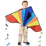カイト 凧 凧揚げ 微風で揚がる 子ども 大人 初心者用 アウトドア おもちゃ カラフルカイト 三角凧 紙鳶 軽量丈夫 80M凧糸とハンドル 収納バッグ 日本語説明書付き
