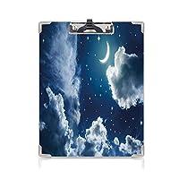 キングジム:クリップボード カラー A4判タテ型 夜空 会議資料など挟 漫画子供子供おとぎ話をテーマにした雲魅力的な月の月の画像装飾濃い青と白