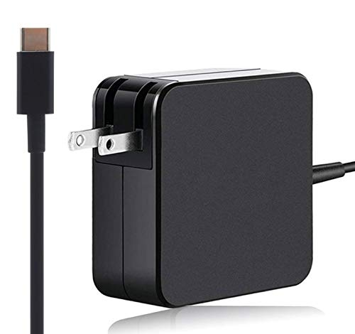 USB C Type C 65W Charger for MacBook Pro Hp Elite x2 1012 Charger Lenovo Yoga 720 730 370 910 HP Spectre, Lenovo Thinkpad Series with Type C Power Cord