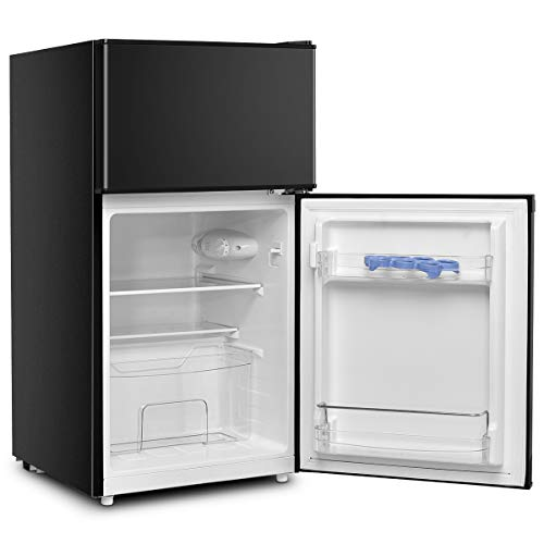 DREAMADE Kühlschrank mit Gerierfach, Standkühlschrank Kühl-Gefrier-Kombination, 85L, Schlepptür, Höhenverstellbare Füße, Innenbeleuchtung, 2 Glas-Ablagen, 3 Türablagen, 1 Obstschachtel