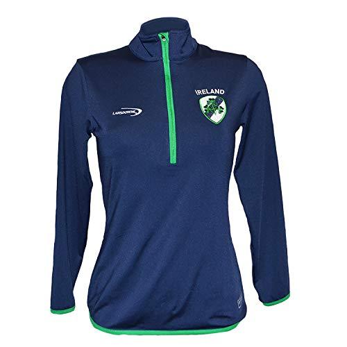Performance Top Pullover Stil mit Ireland und Kleeblatt Wappen Design | Atmungsaktives Marine Komfortabel Hemd mit Lange Ärmel für Damen | Sport Sportshirt Trainingsshirt Top (L)