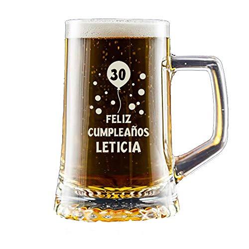 Regalo Personalizado: Jarra de Cerveza grabada con un Sello de autenticidad con su Nombre y año de Nacimiento